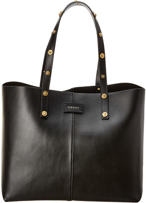 Versace Medusa Stud Vertical Leather Shopping Tote