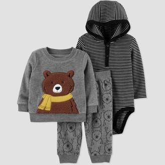 Carter's Just One You Made By Baby Boys' 3pc Stripe Bodysuit,Bear Crewneck Top & Bottom Set - Just One You® made by Gray/Black