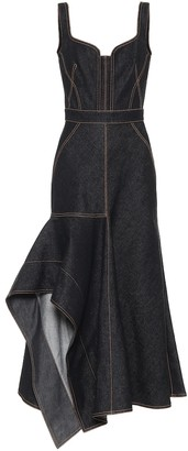 Alexander McQueen Asymmetric denim midi dress