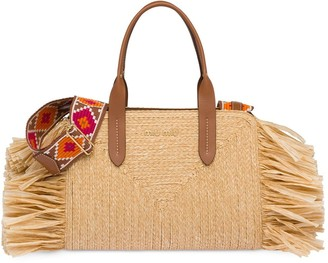 Miu Miu Straw handbag with fringe