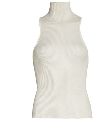 LaQuan Smith Mockneck Silk Ribbed Top