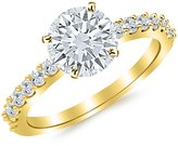 Houston Diamond District 0.88 Carat t.w. 14K Yellow Gold Round Classic Prong Set Diamond Engagement Ring I1