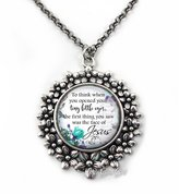 Little Gem Girl Loss of Baby Heaven Memorial Quote Necklace in Flower Pendant 20 inch Chain