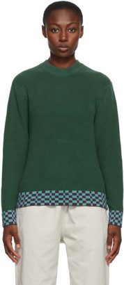Stussy Green Checker Trim Sweater