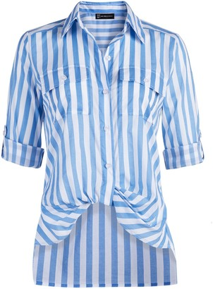 New York & Co. Striped Button-Down Twist-Front Shirt