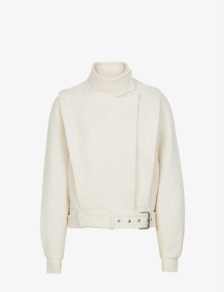 Reiss Clara funnel-neck cotton and wool-blend jacket