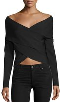 KENDALL + KYLIE Off-the-Shoulder Wrap-Front Crop Top, Black
