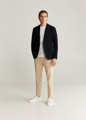 MANGO MAN - Slim-fit textured blazer dark navy - 36 - Men