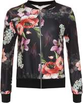GirlzWalk ® Women Girls Floral Print Bomber Jacket Ladies Casual Bomber Jacket Top