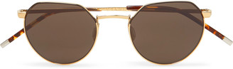 Dick Moby Agadir Round-Frame Gold-Tone Metal And Tortoiseshell Acetate Sunglasses