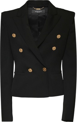Versace Double Breasted Wool Gabardine Blazer