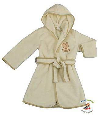 BEIGE BlueberryShop Embroidered Luxurious Hooded Bathrobe/Dressing Gown, 2-3 Years,