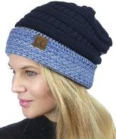 C&C C.C Cable Knit Soft Stretch Multicolor Stitch Cuff Skully Beanie Hat