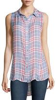 Asstd National Brand Living Doll Sleeveless Plaid Button-Front Duster Shirt