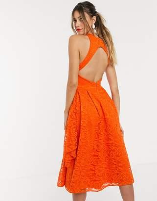 Asos Design DESIGN fold detail lace midi prom dress with open back-Orange