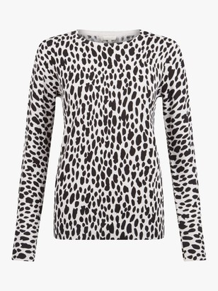 Hobbs Riley Animal Print Sweater, Grey/Black