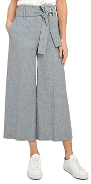 Theory Belted Linen Blend Wide Leg Pants