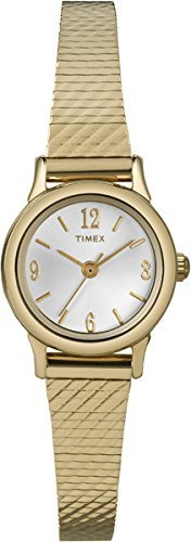 Timex Classic Women's T2P300 Quartz Watch with Silver Dial Analogue Display and Gold Stainless Steel Bracelet