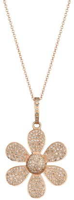 Nina Gilin 14K Rose Gold & Diamond Pave Flower Pendant Necklace
