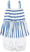 Ralph Lauren Smocked Striped Poplin Top w/ Bloomers, Blue/White, Size 9-24 Months
