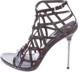 Brian Atwood Snakeskin Cage Sandals