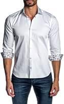 Jared Lang Contrast Cuffs Long Sleeve Trim Fit Shirt