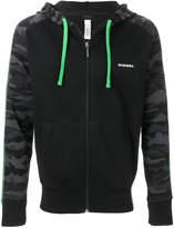 Diesel contrast sleeve zip-front hoodie
