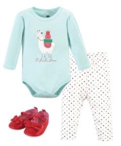 Hudson Baby Baby Girls Fa La Llama Bodysuit, Pant and Shoe Set, Pack of 3