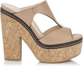 Jimmy Choo NIXIE 120 Nude Vacchetta Leather Cork Wedges