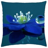 """Kobalter Blue flower and Blue drops - Throw Pillow Cover Case (16"""" x 16"""")"""