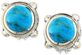 Effy Turquesa by Manufactured Turquoise Stud Earrings (8-3/8 ct. t.w.) in Sterling Silver and 18k Gold