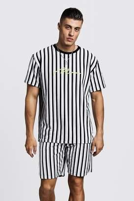 boohoo MAN Signature Velour Stripe T-Shirt & Short Set