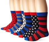Ben Sherman Men's 6 Pack Frederick Crew Socks, Multi color, 9-12 (Pack of 6)