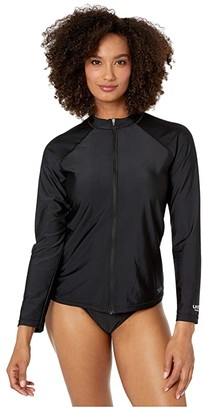 Speedo Long Sleeve Zip Front Rashguard Black) Women's Swimwear