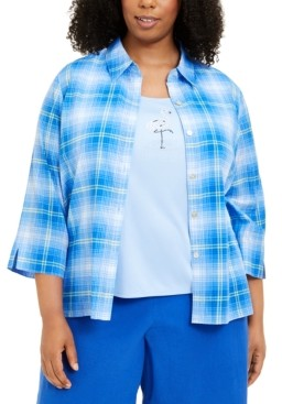 Alfred Dunner Plus Size Laguna Beach Layered-Look Top