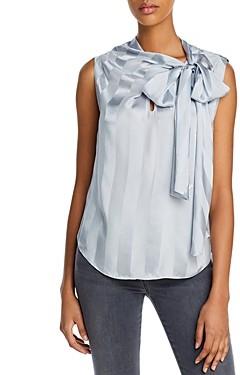Rebecca Taylor La Chemise Striped Tie-Neck Top