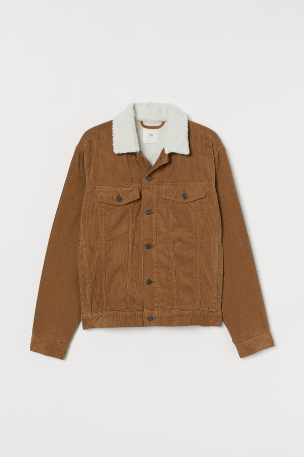 H&M Pile-lined Corduroy Jacket - Beige