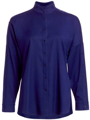 Akris Punto Mandarin Collar Snap Button Blouse