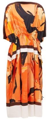 Proenza Schouler Marocaine Dolman-sleeve Crepe Dress - Womens - Orange Print
