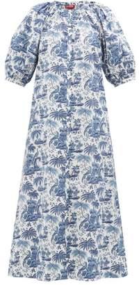 STAUD Vincent Tropical-print Cotton Shirtdress - Womens - Blue White