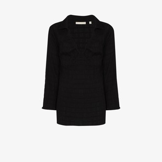 USISI SISTER Chi Chi ruched V-neck jersey blouse