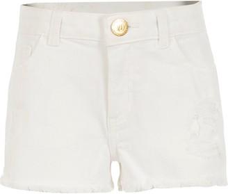 River Island Girls White ripped Becca relaxed denim shorts