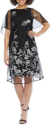 J Taylor Short Sleeve Embroidered Floral Cape Fit & Flare Dress
