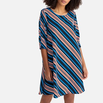 Striped Flared Midi Dress with 3/4 Length Sleeves