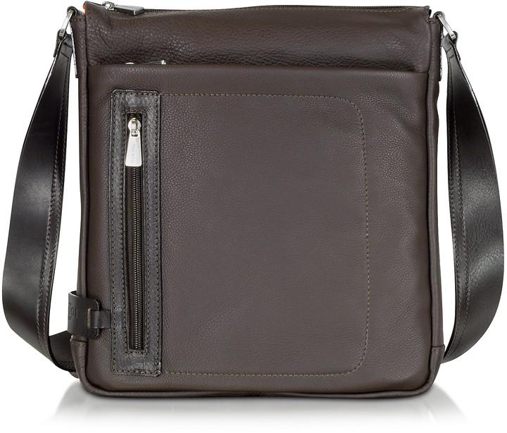Chiarugi Dark Brown Leather Vertical Crossbody Bag