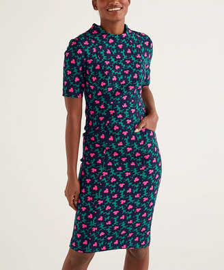 Boden Women's Casual Dresses Forest, - Forest & Navy Floral Louise Textured Midi Sheath Dress - Women, Women's Tall & Petite