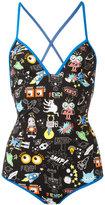 Fendi printed swimsuit - women - Polyamide/Spandex/Elastane - 42