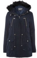 Dorothy Perkins Womens **Tall Navy Contrast Fur Parka Coat- Blue