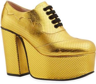 Gucci Metallic Leather Platform Lace-Up Shoes