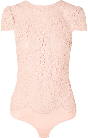 Thumbnail for your product : I.D. Sarrieri Nuit Ephemere Chantilly Lace And Satin Bodysuit - Baby pink